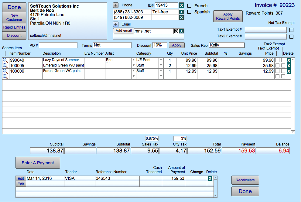 Screenshot: Invoices